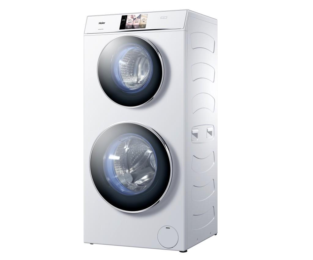 Dubbele wasmachine Haier Duo twee wasmachines in één wasmachine.